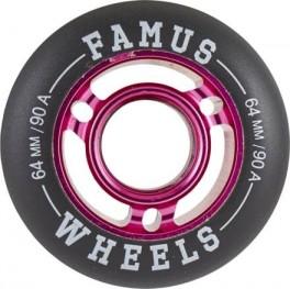 Famus 64mm Aggressive Inline Hjul Pink/Sort - 90A